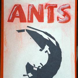 Ants - Pap, akryl, print, papir, lak 14 x 16 cm