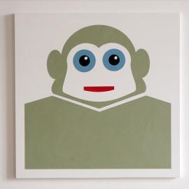 Ape - Olive Green - Træfiber, akryl, papir 50 x 50 cm