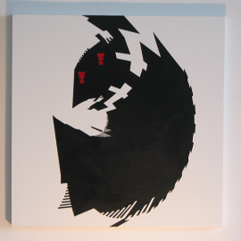 Baby Spy- Træfiber, akryl, papir 40 x 40 cm