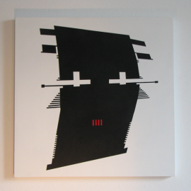 BUUH! - Træfiber, akryl, papir forstudie 40 x 40 cm
