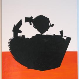 Little Ninja - Træfiber, akryl, papir, lak 30 x 40 cm
