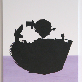 Little Ninja Purple- Træfiber, akryl, papir, lak  30 x 40 cm