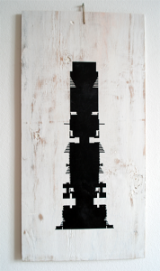 Mona - Krydsfiner, akryl, papir, lak 25 x 50 cm