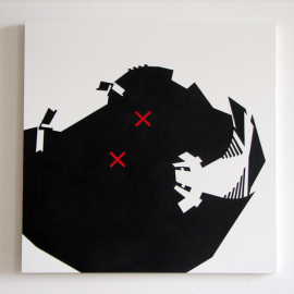 DOG - Træfiber, akryl, papir 40 x 40 cm
