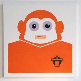 Ape - Orange - Træfiber, akryl, papir 50 x 50 cm