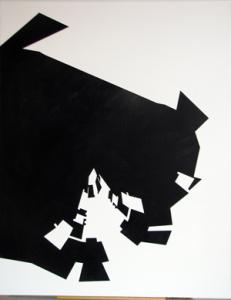 Watchman - Black On White  Træfiber, akryl, papir 60 x 80 cm