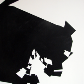 Watchman - Black On White  Træfiber, akryl, papir 60 x 80 cm
